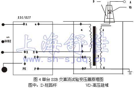 2,单台ssb试验变压器工作原理图见图4,图中高压套管中装有高压硅堆,串